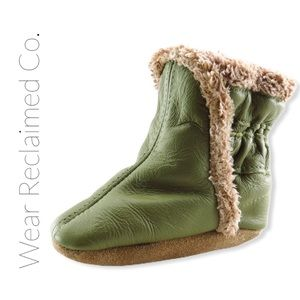 ROBEEZ Classic Green & Fur Infant Boots - 0-6 M